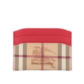 【BURBERRY】Haymarket格紋皮革卡片夾(亮紅色) 80328651