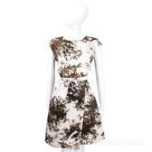 MARELL 米咖色墨畫樹圖短袖洋裝 1540374-03
