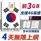 【TPHONE上網專家】韓國 4天無限上網卡 前3GB高速 支援4G 含40分鐘通話 使用SK最大電信 隨插即用