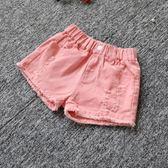 女童夏季牛仔短褲韓版破洞中大童兒童白色純棉外穿百搭寬鬆熱褲子嬡孕哺