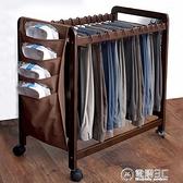 晾褲架矮衣架室內多功能落地衣服掛架收納整理移動實木晾衣架