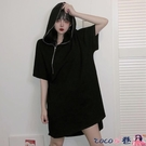 熱賣連帽洋裝 大碼女裝胖mm春季新款寬鬆遮肚子小黑裙胖妹妹法式復古短袖連身裙 coco