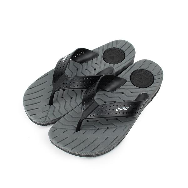 JUMP 透氣排水夾腳拖鞋 灰黑 7001-JP073 男