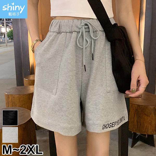 【V3107】shiny藍格子-夏日百搭.字母刺繡抽繩鬆緊腰五分褲