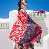 海灘披肩紗巾夏季茶卡鹽湖百搭絲巾女防曬海邊沙灘巾超大圍巾披肩兩用外搭走心小賣場