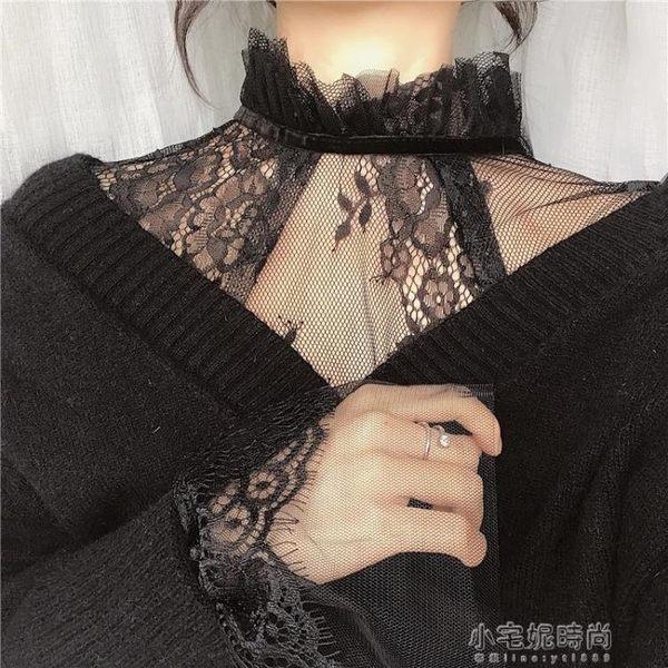 秋新款甜美薄款鏤空內搭套頭網紗上衣蕾絲喇叭袖打底衫女『小宅妮時尚』