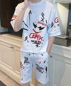 2019夏季新款短袖T恤套裝男韓版潮流男士運動休閒印花款兩件套男