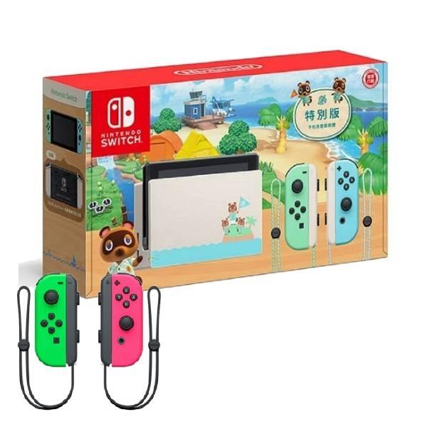 【神腦生活】任天堂 Switch 動物之森特別版主機 (電池加強版)+Joy-Con 控制器 左右手套組 粉紅綠