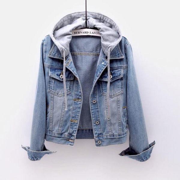 牛仔外套 短款2018春秋韓版新款長袖修身連帽夾克百搭學生上衣