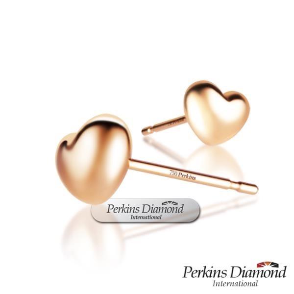 【南紡購物中心】PERKINS 伯金仕 RoseHeart系列 18K玫瑰金耳環
