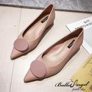 跟鞋 名品氣質圓飾釦尖頭低跟鞋(粉)*BalletAngel【18-172-6pk】【現+預】