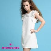 【SHOWCASE】唯美荷葉袖 拼接修身蕾絲洋裝(白)