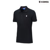 K-Swiss Cotton Solid Polo短袖Polo衫-男-黑
