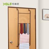 【YOLE悠樂居】四層梯形加粗毛巾衣物門後掛架-古銅棕#1326017 浴室毛巾架 門後掛鉤 門後收納