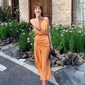 依二衣 夏季法式設計感綁帶背心吊帶系帶高腰半身裙套
