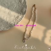 法式宮廷復古溫柔巴洛克淡水珍珠月光石項鏈鎖骨鏈【桃可可服飾】