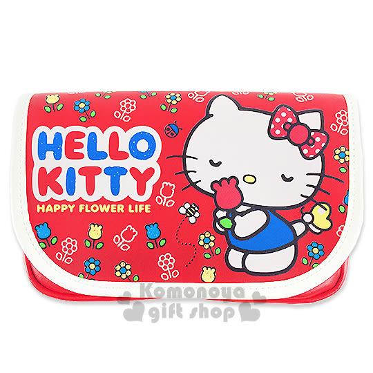 〔小禮堂〕Hello Kitty 皮質斜背手機包《紅.花.蜜蜂.瓢蟲》後方透窗設計 8039033-50013