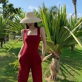 連身褲吊帶連體褲女2021年夏季高腰顯瘦垂感一字肩小個子黑色背帶闊腿褲 韓國時尚週 免運