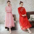 七分袖洋裝 春秋改良中國風大碼媽媽裝女復古禪意文藝茶服七分袖連身裙-Ballet朵朵