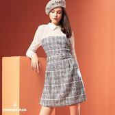 【SHOWCASE】氣質名媛蕾絲拼接格紋合身剪裁洋裝(灰)