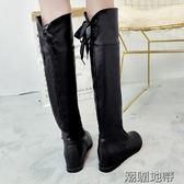 女冬新款過膝平底加絨長筒靴  2款可選