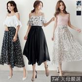 【天母嚴選】附綁帶素面/碎花雪紡長裙(共三色)