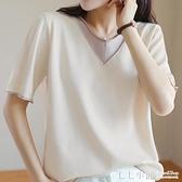短袖T恤夏季女裝2021新款V領針織上衣薄款寬鬆韓版棉麻半袖體恤衫