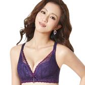 思薇爾-撩波系列B-E罩無鋼圈蕾絲包覆內衣(皇家紫)
