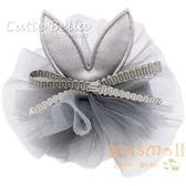 Cutie Bella小兔耳雪紡花全包布手工髮夾-Bunny Lace Flower-Gray