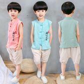 唐裝套裝男童 男童中國復古漢服寶寶禪服周歲古裝棉麻唐裝衣服夏兒童民族風套裝 米蘭街頭