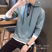 長袖T恤  春秋季男士長袖t恤青年學生韓版修身連帽衛衣潮流帥氣套頭打底衫
