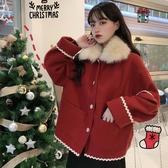 聖誕款網紅毛呢外套女冬季新款韓版小個子寬鬆夾棉加厚呢子上衣潮 雅楓居