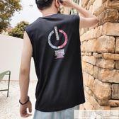 夏季潮流個性坎肩男士背心健身寬鬆運動嘻哈外穿無袖t恤潮牌上衣 韓慕精品