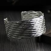 純銀手環(泰銀)-大方寬版生日情人節禮物女手鐲73gg108【時尚巴黎】