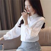 秋裝款長袖上衣百搭刺繡襯衣純色小衫女9041ZLE-2F-E238依佳衣