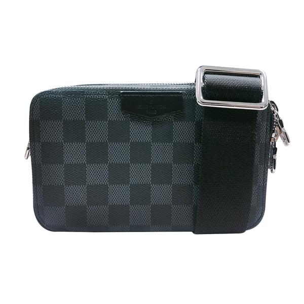 【台中米蘭站】全新品 Louis Vuitton 經典 Monogram KITAN 帆布手提斜背二用包(M40388-咖)
