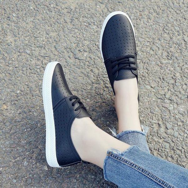 小白鞋女新款平底鏤空透氣女鞋繫帶厚底百搭單鞋韓版板鞋  凱斯盾數位3C