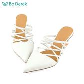 Bo Derek 水晶圓球鞋跟穆勒鞋-白色