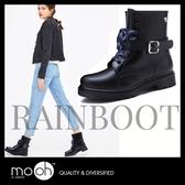 雨靴 中筒馬丁皮帶搭扣防水防滑雨鞋 mo.oh(歐美鞋款) 快速出貨