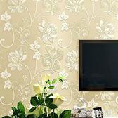 田園壁紙溫馨臥室婚房客廳無紡布牆紙韓式花朵美容院壁紙簡約現代 NMS造物空間