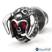 鋼耳環 ATeenPOP 凶猛骷髏 栓扣式 兩面皆可戴 抗過敏鋼耳針*單邊單個價格*
