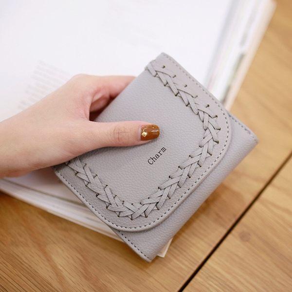短夾-時尚編織三折皮夾/手拿包/皮包-共5色-N450037-FuFu