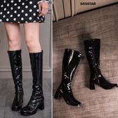 現貨-MIUSTAR 歐美防潑水漆皮中根長統騎士靴(共1色,36-39)【NF4448T1】