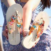 女士人字拖中跟厚底坡跟防滑夏季夾拖涼拖鞋波西米亞沙灘鞋 【販衣小築】