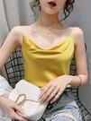 緞面小吊帶背心女夏裝新款打底衫微蕩領內搭西裝小衫百搭外穿上衣 蘿莉新品