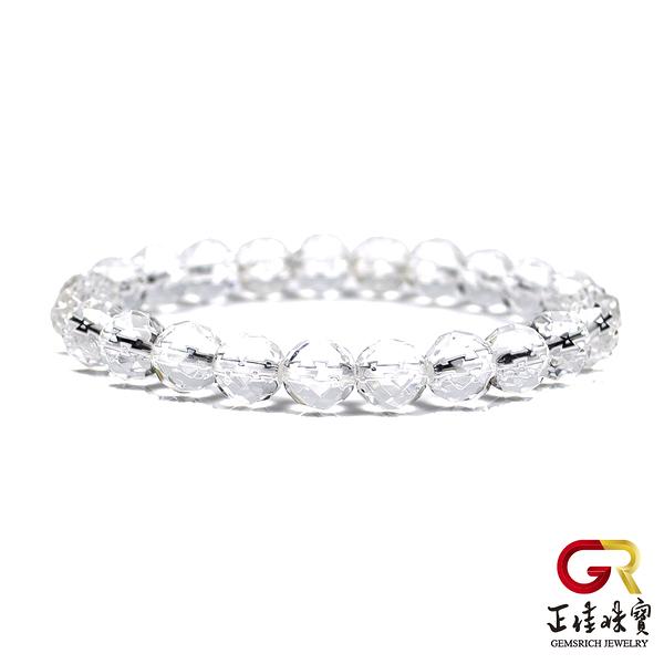 白水晶 極品角度白水晶 8mm 白水晶手珠 日本彈力繩 正佳珠寶