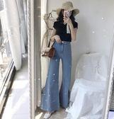 港味新款復古韓版高腰寬鬆顯瘦淺色氣質款牛仔闊腿喇叭褲女長褲