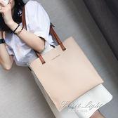 女包包新款日韓版時尚潮托特包簡約百搭撞色手提包單肩包大包 果果輕時尚