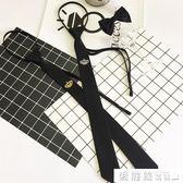 領帶時尚潮流新款男士小皇冠刺繡發型師細窄黑色5cm懶人拉鍊配飾 愛麗絲精品