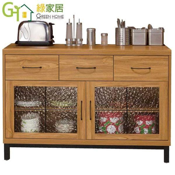 【綠家居】柏斯 時尚4尺柚木紋餐櫃/收納櫃組合